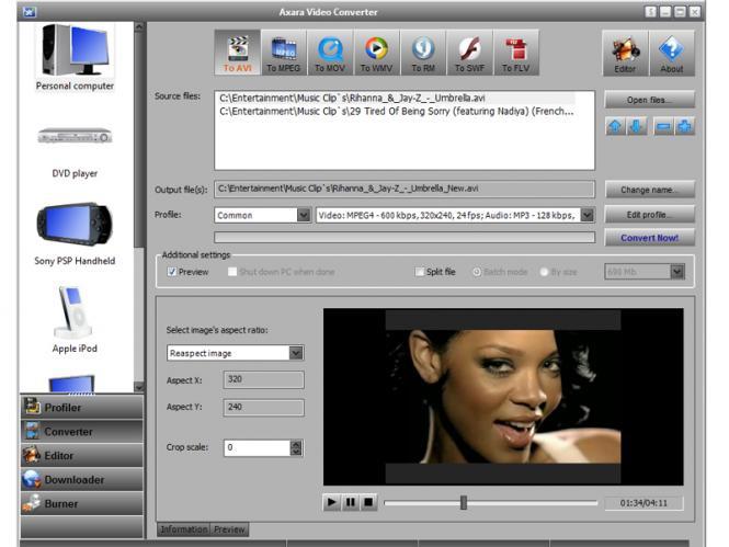 Axara video converter - отличная программа специально созданная для работы.