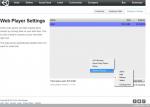 Unity Web Player меню параметров